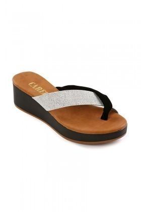 Carel Siyah-Gümüş CRL-2109 Dolgu Topuk Bayan Terlik