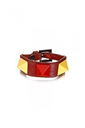 Divax Sarı-Kırmızı DMBPUS516-GS Mat Boyalı Piramit Bileklik