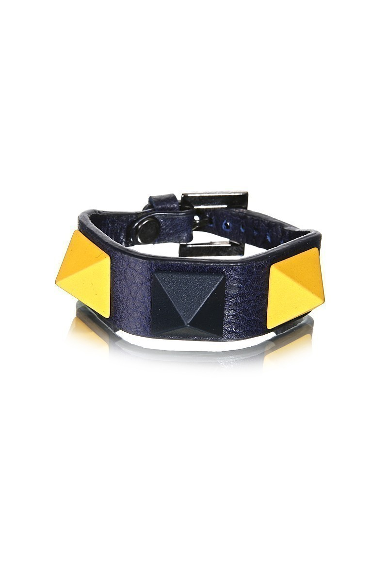 Divax Sarı-Lacivert DMBPUS516-FB Mat Boyalı Piramit Bileklik