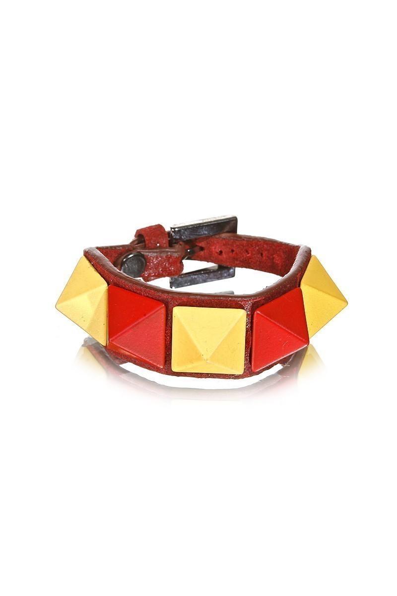 Divax Sarı-Kırmızı DMBPBS515-GS Mat Boyalı Piramit Bileklik