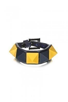 Divax Sarı-Lacivert DMBPBS515-FB Mat Boyalı Piramit Bileklik