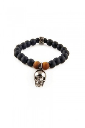 Divax Siyah DMOMKG006-GMS Bold Skull Doğal Taşlı Bileklik