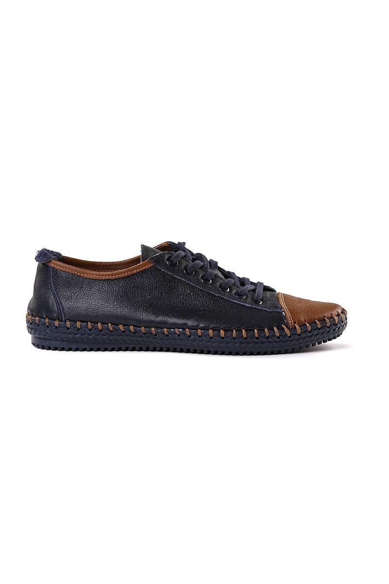 Pandew Lacivert-Taba PNDW-1007 Hakiki Deri Erkek Ayakkabı