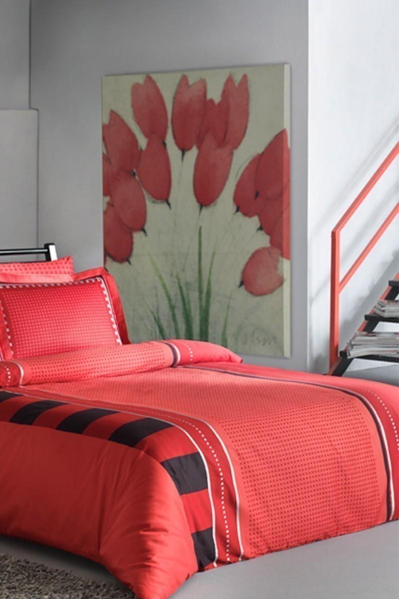 Taç Kırmızı DD-60093513 Taç Saten Delux Çift Kişilik Nevresim Takımı Mabel