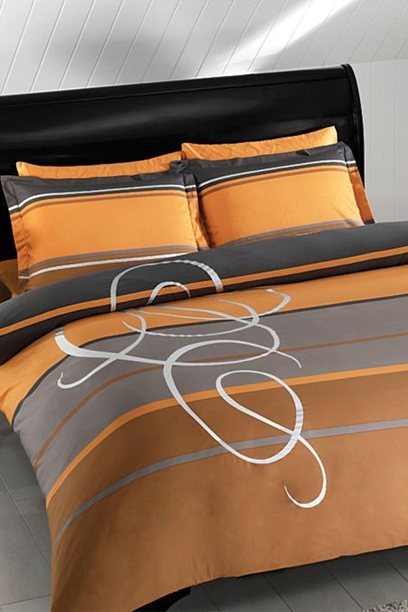 Taç Sarı DD-60066268 Taç Saten Delux Çift Kişilik Nevresim Takımı Perla Gold