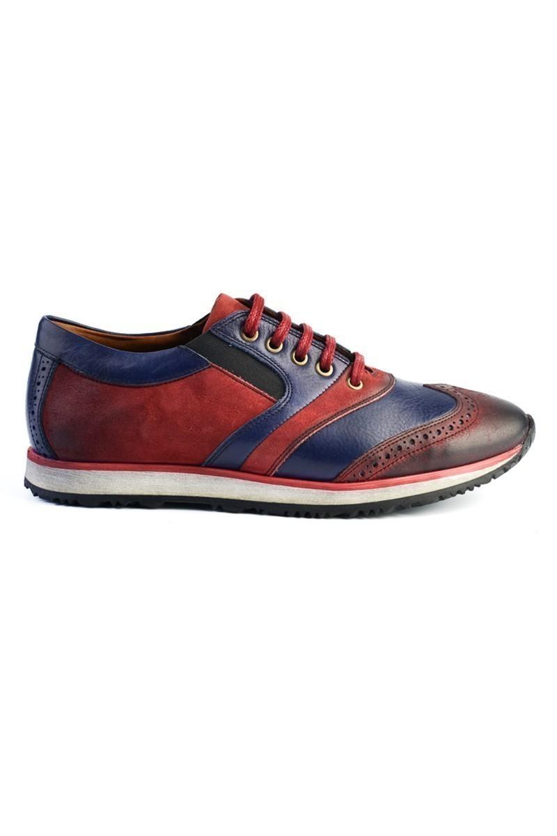 Pandew Lacivert-Bordo PNDW-8076 Hakiki Deri Erkek Ayakkabı