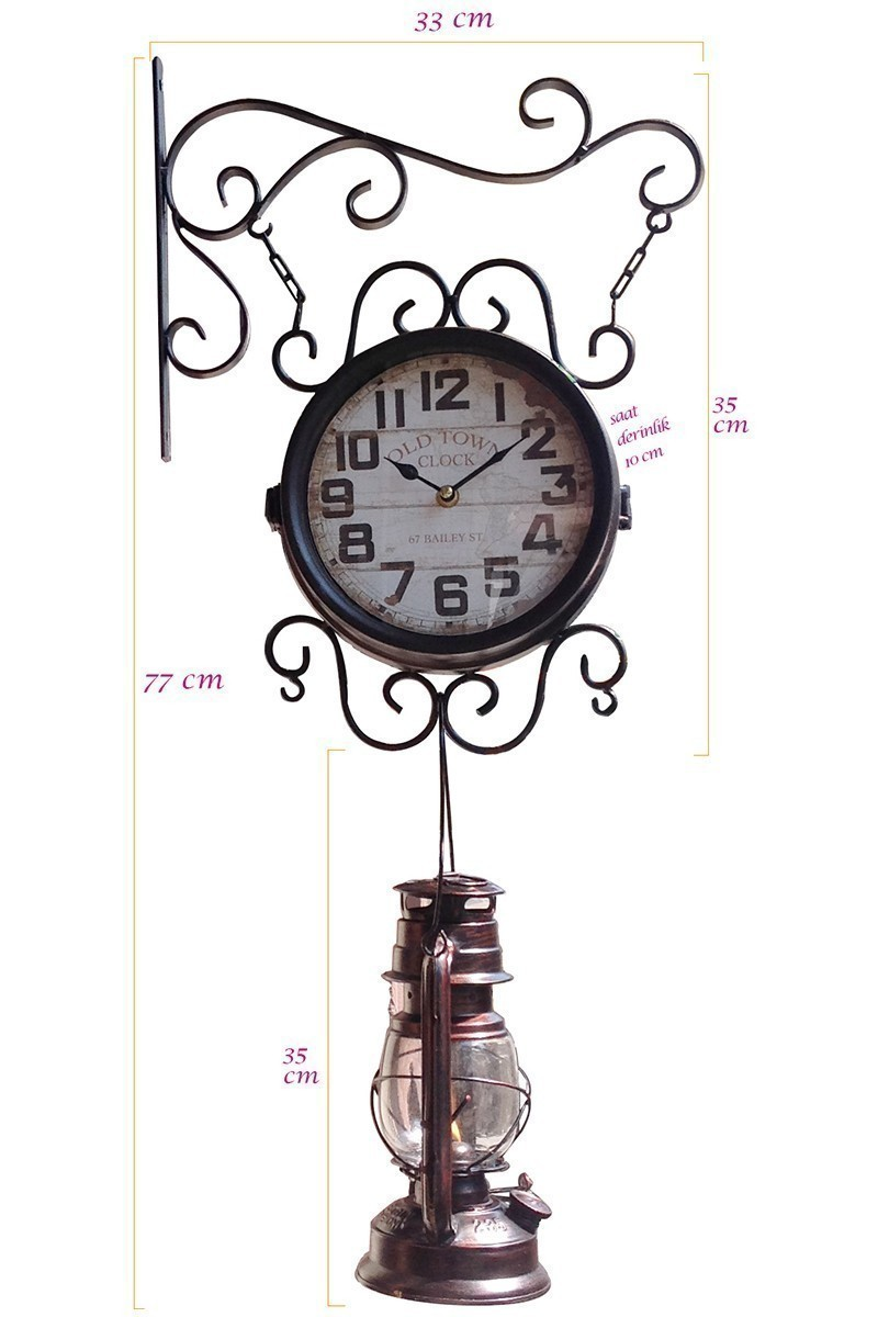 BS Siyah BS-TGB13 Romantik İstasyon Duvar Saati