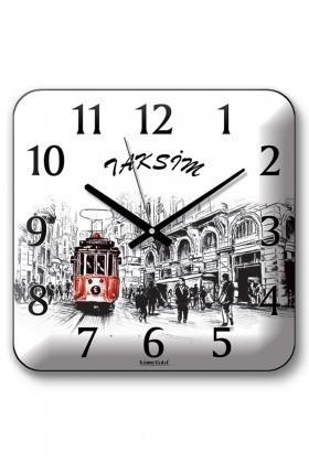 BS Siyah-Beyaz BS-TG271-2 Panoroma Taksim Duvar Saati