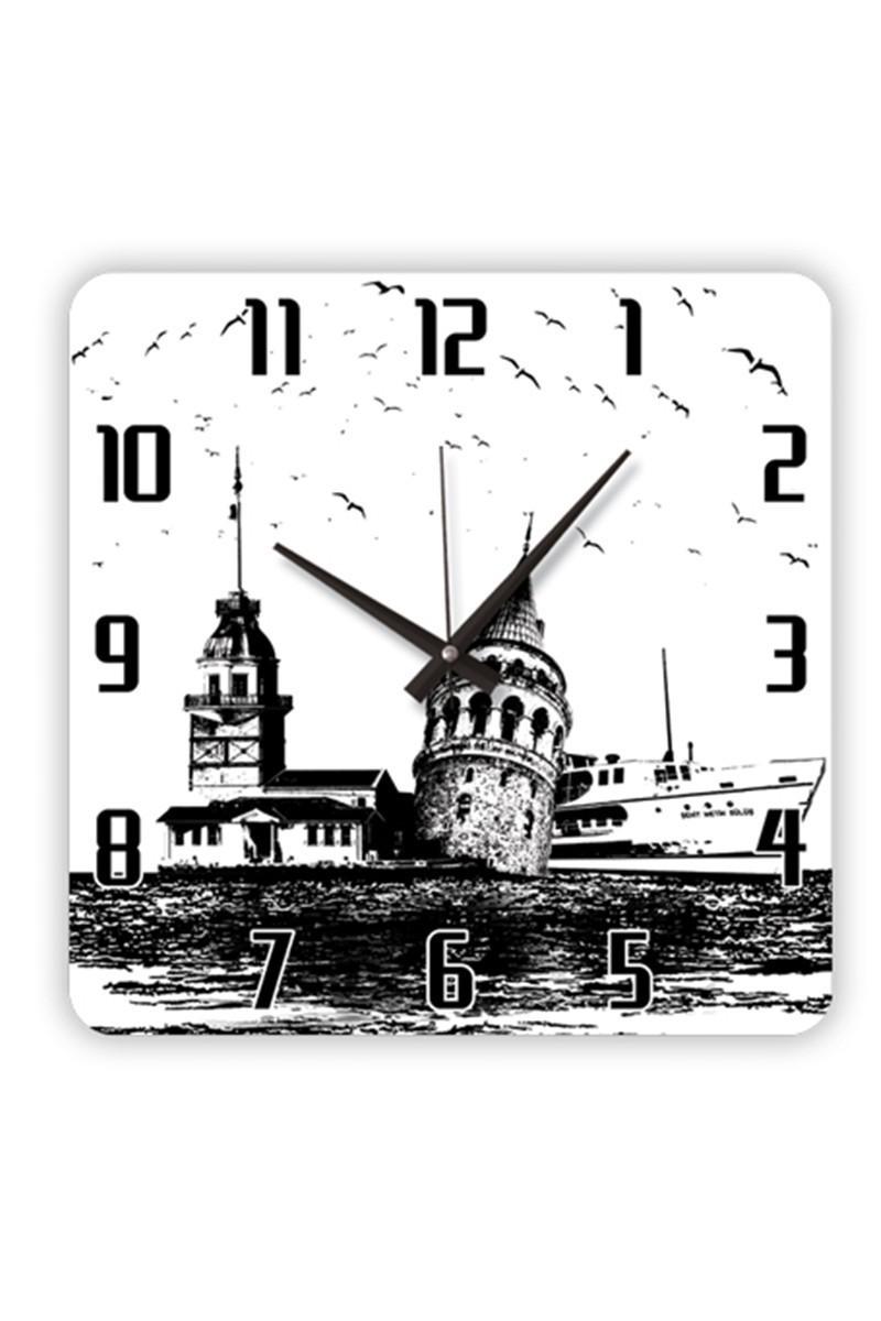BS Siyah-Beyaz BS-TG257 İstanbul Silüeti Cam Duvar Saati