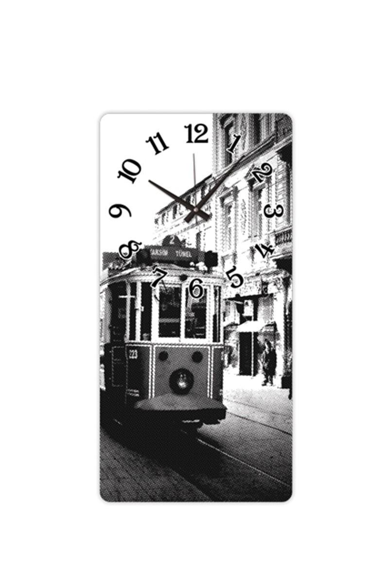 BS Siyah-Beyaz BS-TG256-TAKSIM Cam Duvar Saati