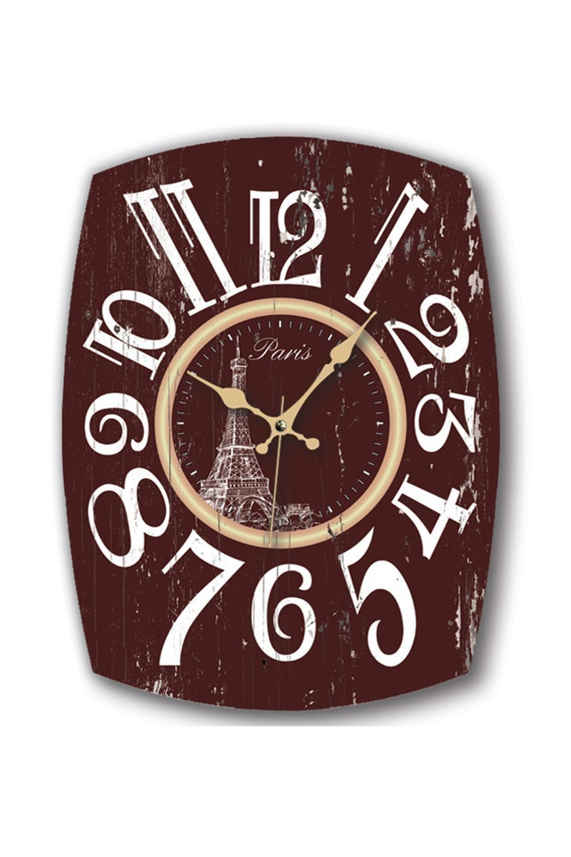 BS Kahverengi-Beyaz BS-TG254-2 Ahşap Paris Eskitme Dekoratif Duvar Saati