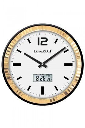 BS Altın Sarısı BS-TG247TR Dijital Metal Çerçeveli Duvar Saati