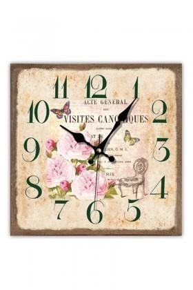 BS Kahverengi BS-TG230-8 Ahşap Çiçek Dekoratif Duvar Saati