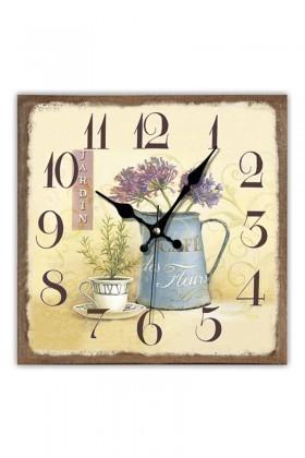 BS Bej BS-TG230-7 Ahşap Saksı Dekoratif Duvar Saati