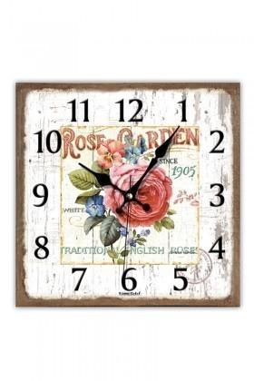 BS Krem BS-TG230-6 Ahşap Çiçek Dekoratif Duvar Saati
