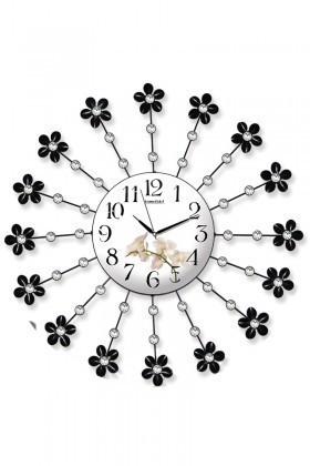 BS Beyaz-Siyah BS-TG219Ç Ferforje Dekoratif Çiçekli Duvar Saati