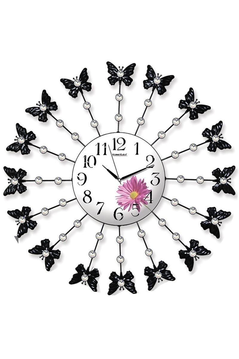 BS Beyaz-Siyah BS-TG218Ç Ferforje Dekoratif Kelebek Duvar Saati