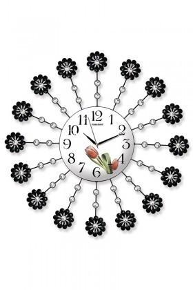 BS Beyaz-Siyah BS-TG217Ç Taşlı Ferforje Dekoratif Duvar Saati