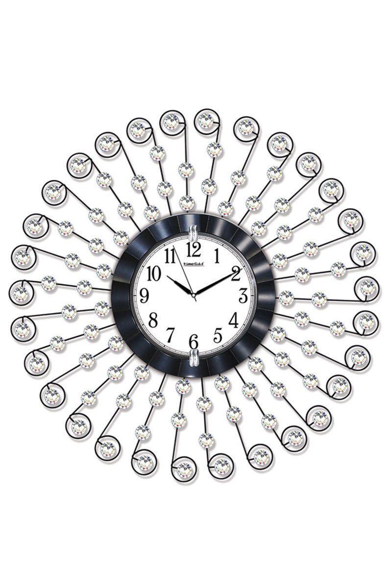 BS Gümüş Rengi BS-TG215 Taşlı Ferforje Büyük Boy Duvar Saati