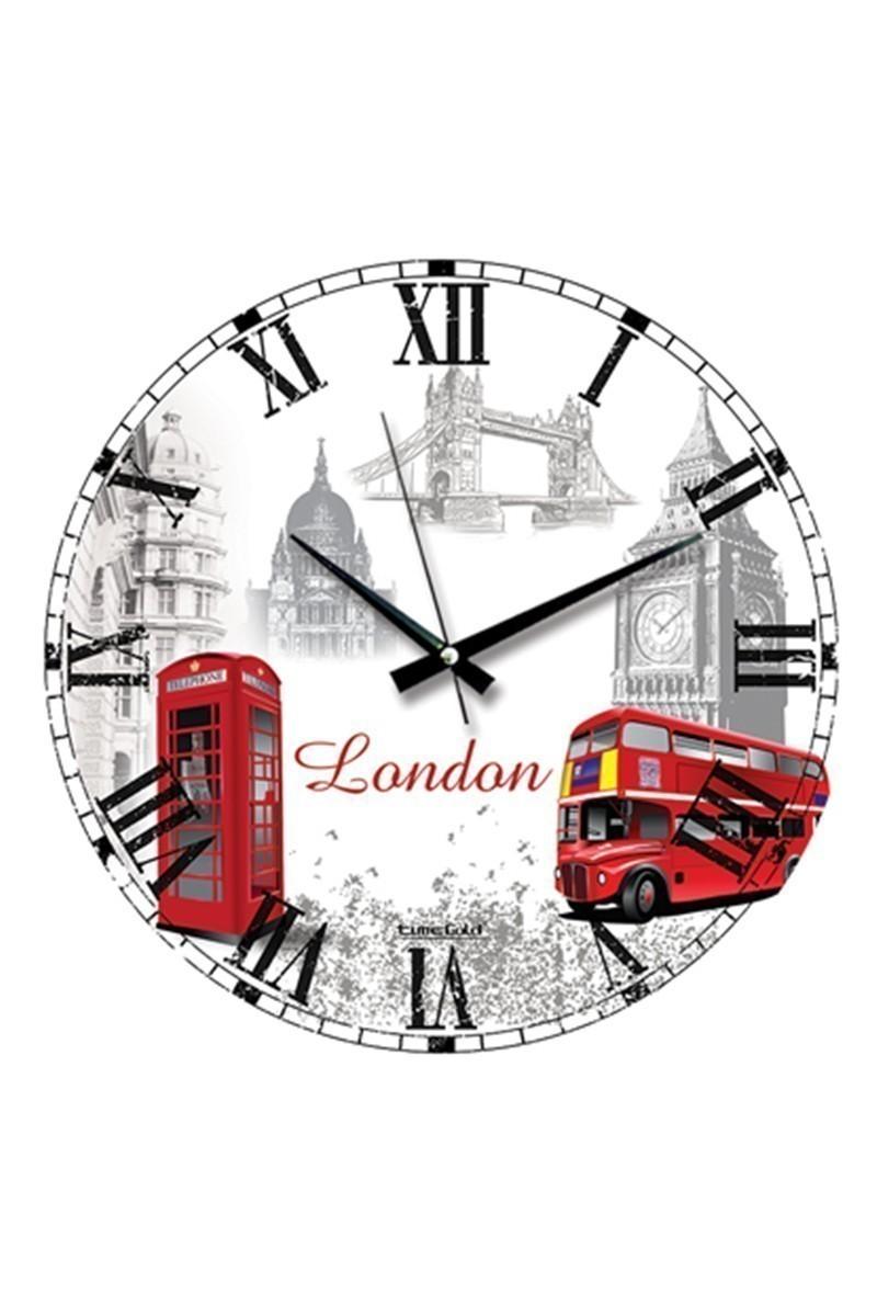 BS Beyaz BS-TG204-R-LONDON Dekorafif Duvar Saati