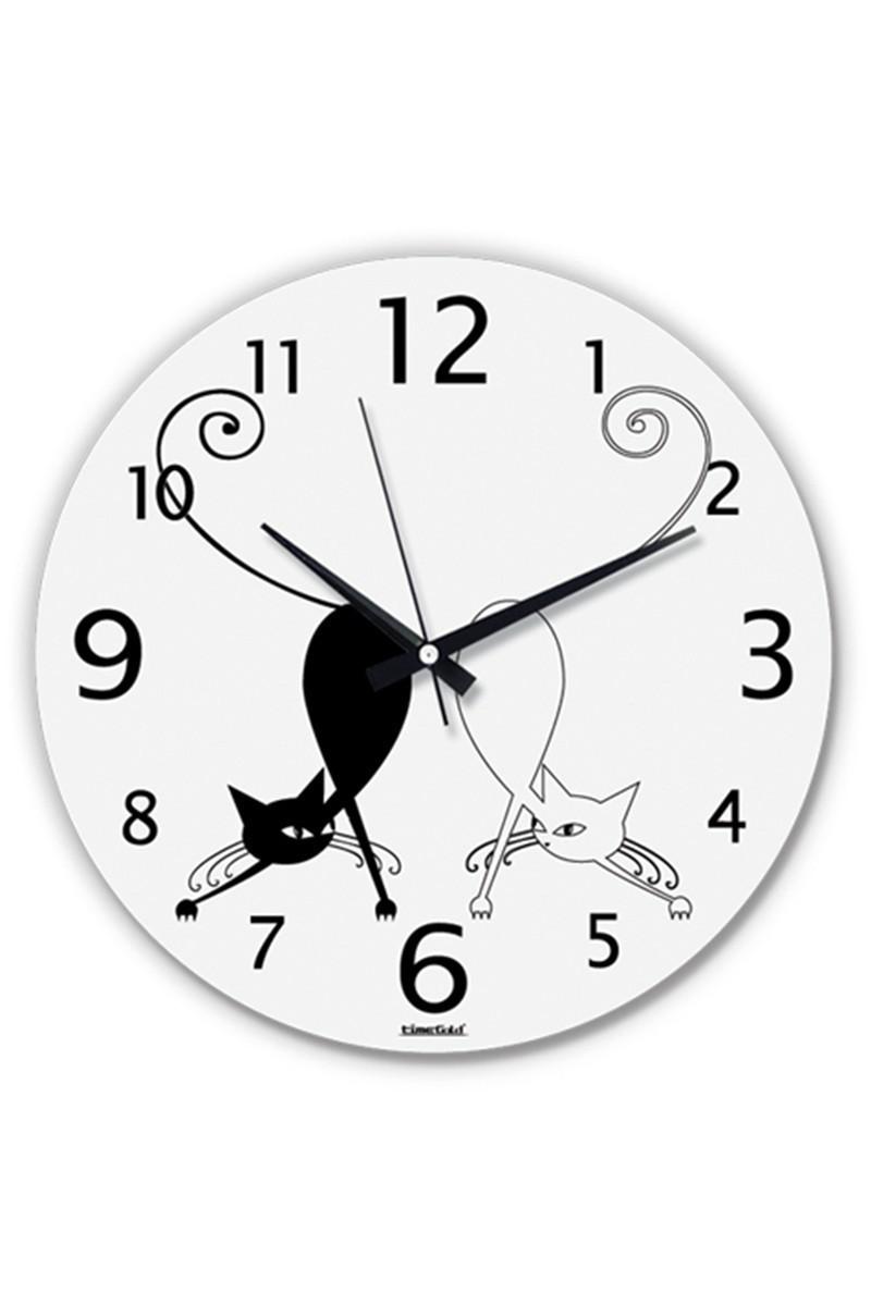 BS Beyaz BS-TG204-KEDI Dekoratif İlginç Cam Duvar Saati