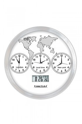 BS Beyaz BS-TG157TR 3 Lü Metal Dünya Duvar Saati
