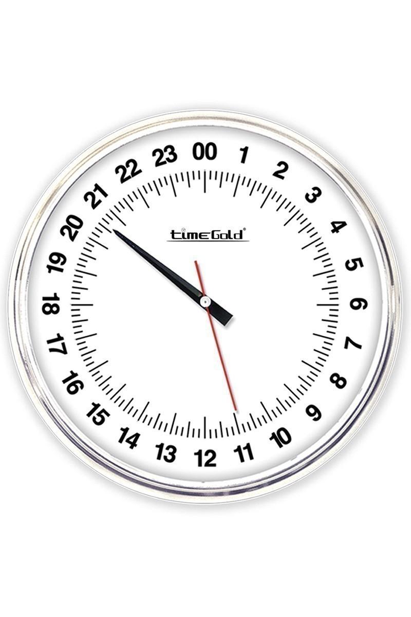 BS Beyaz BS-TG154-E24 24 Saatlik Mekanizmalı Metal Duvar Saati
