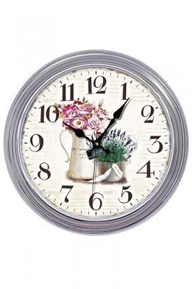 BS Gümüş Rengi BS-TG141S-3 Eskitme Çiçek Duvar Saati