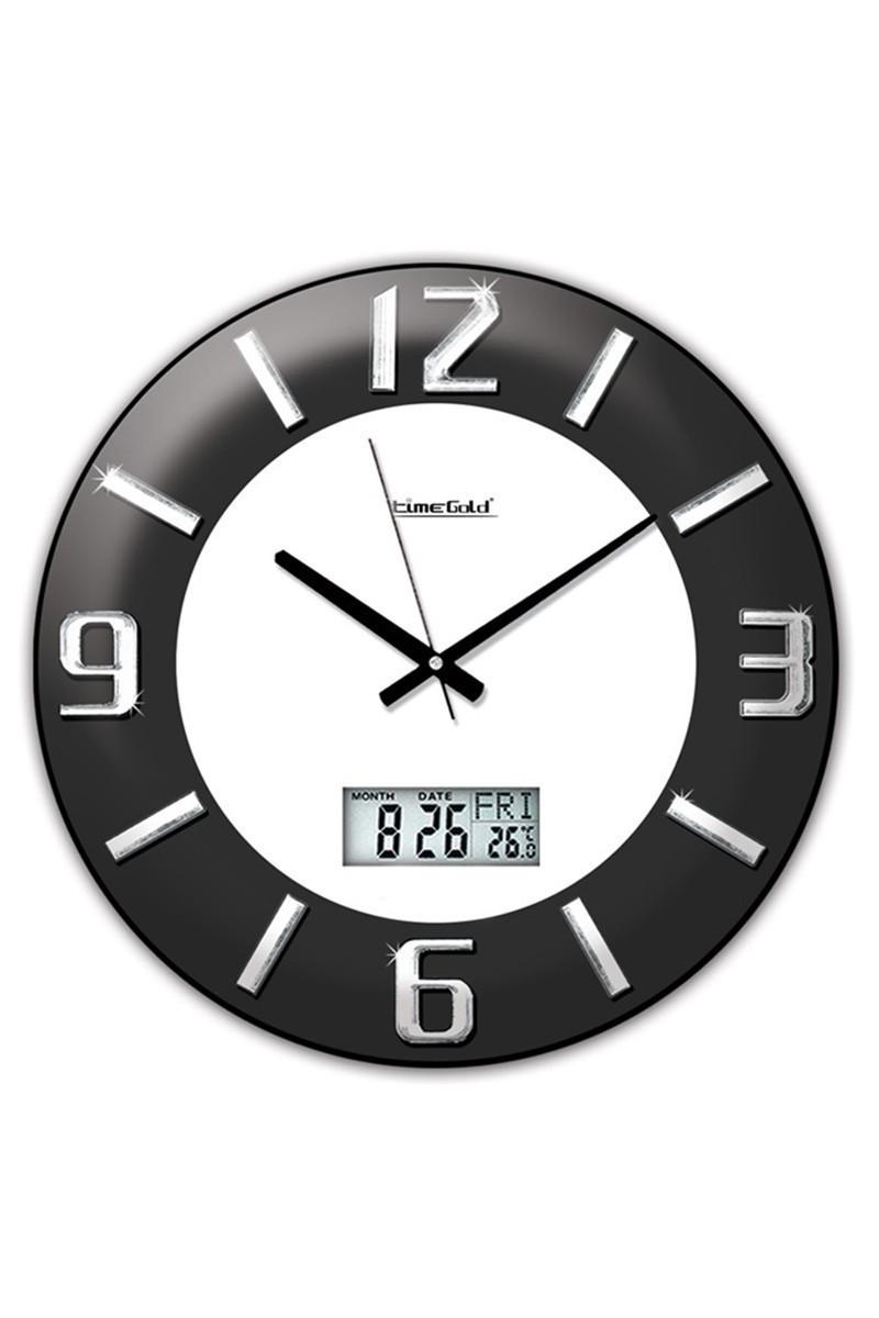 BS Siyah-Beyaz BS-TG140LTR Dijital Krom Kabartma Duvar Saati