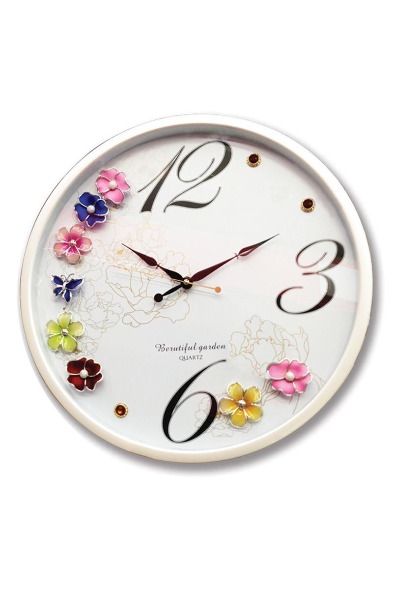 BS Beyaz BS-AK1140B 3D Bahar Çiçek Kabartmalı Duvar Saati