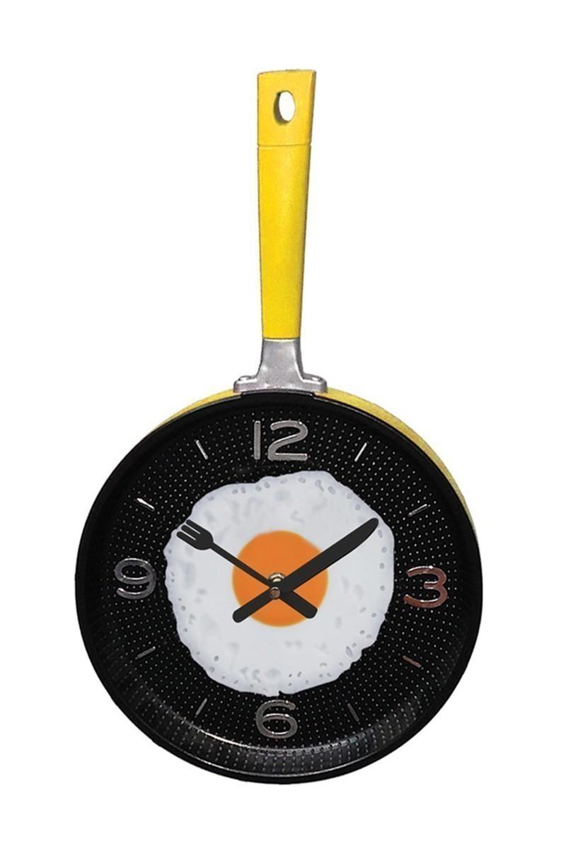 BS Sarı-Siyah BS-AK1116 Metal Tava Duvar Saati