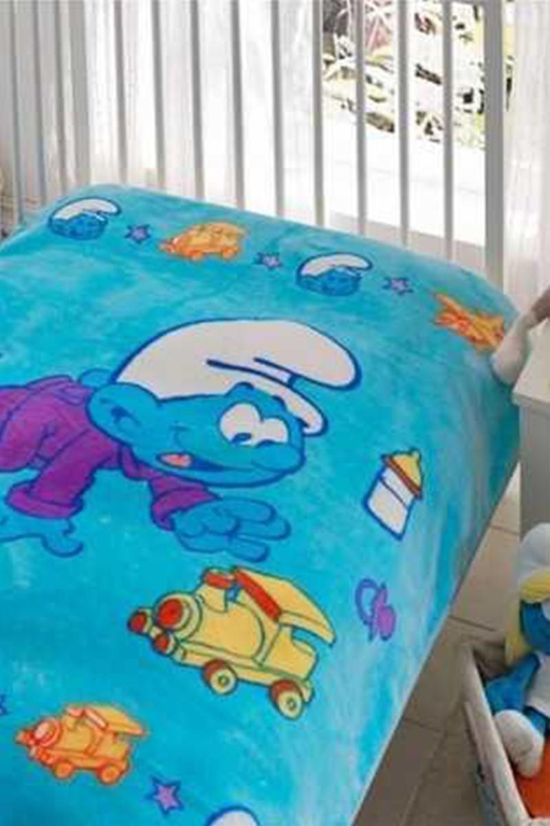 Taç Mavi DD-12127968 Taç Lisanslı Bebek Battaniyesi Şirinler Train Baby