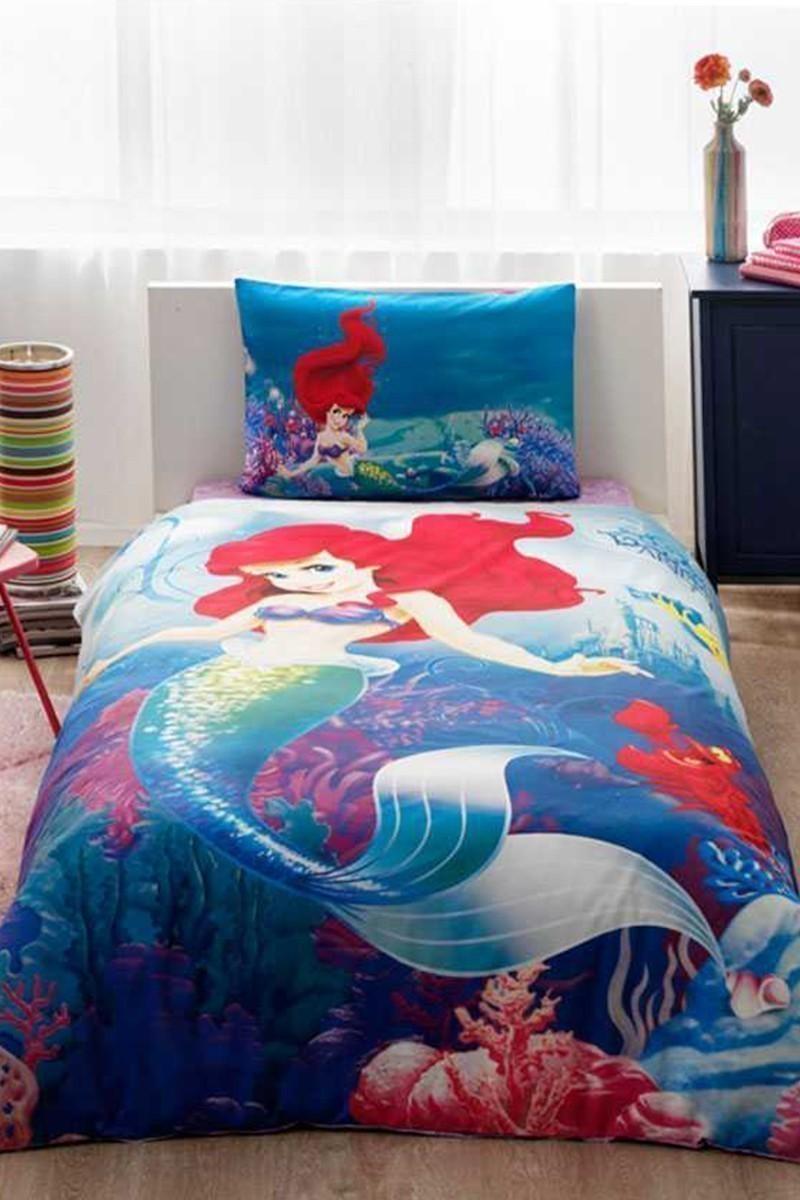 Taç Mavi DD-60099400 Taç Lisanslı Nevresim Takımı Disney Ariel