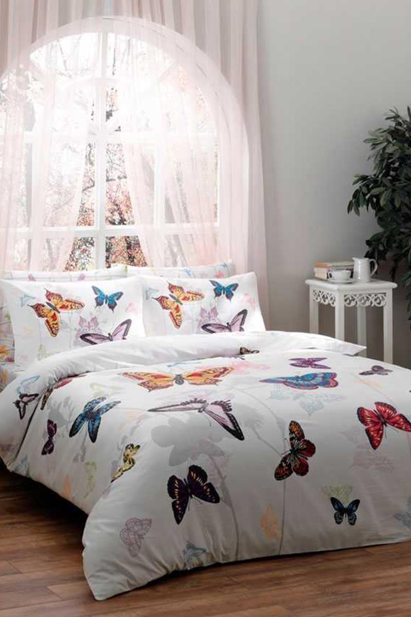 Taç Mavi DD-60100761 Taç Mako Saten Tek Kişilik Nevresim Takımı Butterfly