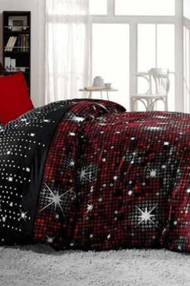 Altınbaşak Kırmızı DD-43430067 Altınbaşak Çift Kişilik Saten Uyku Seti Pirilti