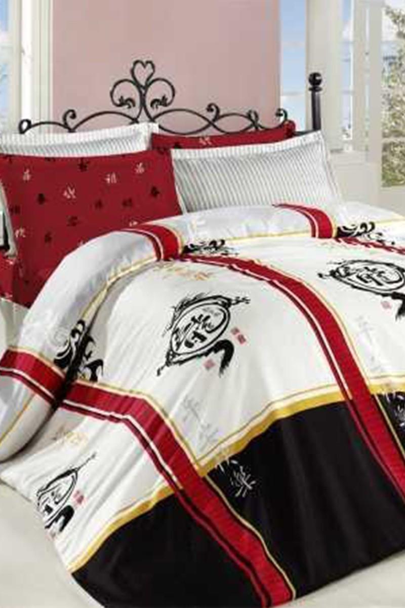 Altınbaşak Kırmızı DD-43440049 Altınbaşak Çift Kişilik Saten Uyku Seti Dragon