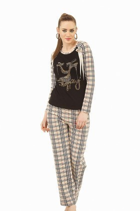 Lady Lingerie Kahverengi LL-9115 Bayan Pijama