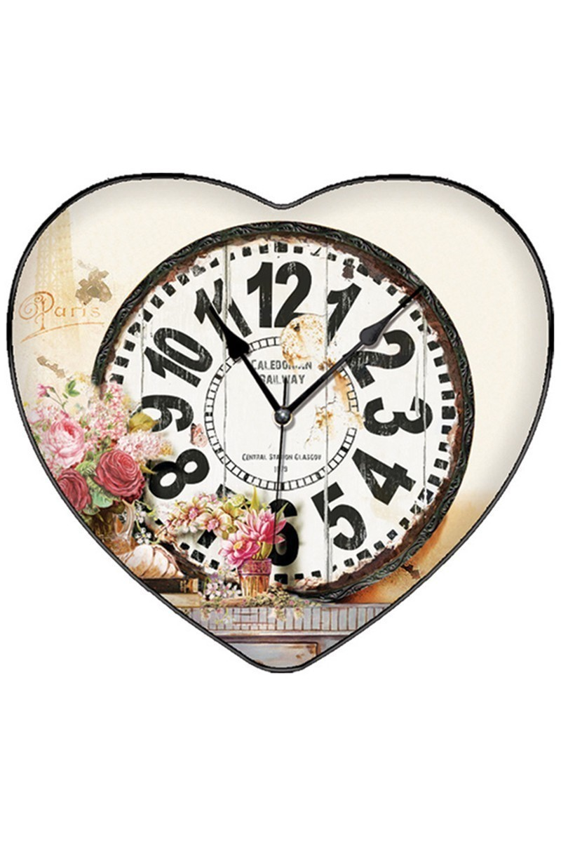 BS Krem BS-TG279-9 Kalpli Çiçekli Dekoratif Duvar Saati