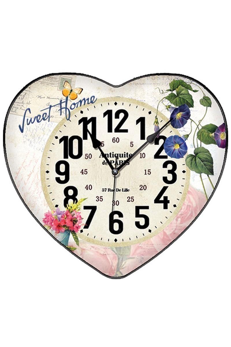BS Krem BS-TG279-7 Kalpli Çiçekli Dekoratif Duvar Saati