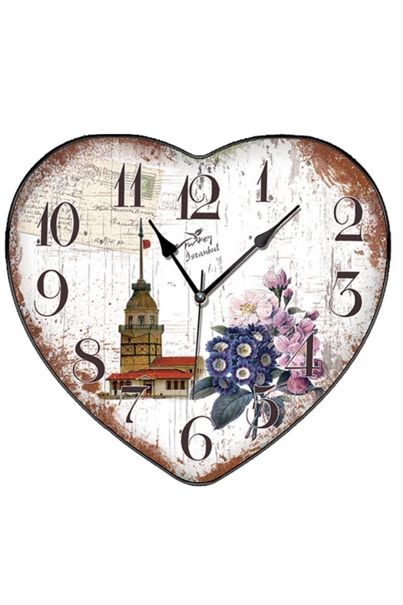 BS Krem BS-TG279-3 Kalpli Kızkulesi Dekoratif Duvar Saati