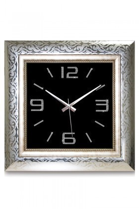 BS Siyah-Gümüş BS-TG276-2 Kare Taşlı Büyük Boy Duvar Saati
