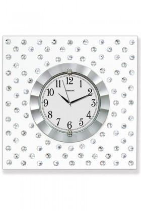 BS Gümüş Rengi BS-TG268E Gümüş Renk Dekoratif Taşlı Duvar Saati