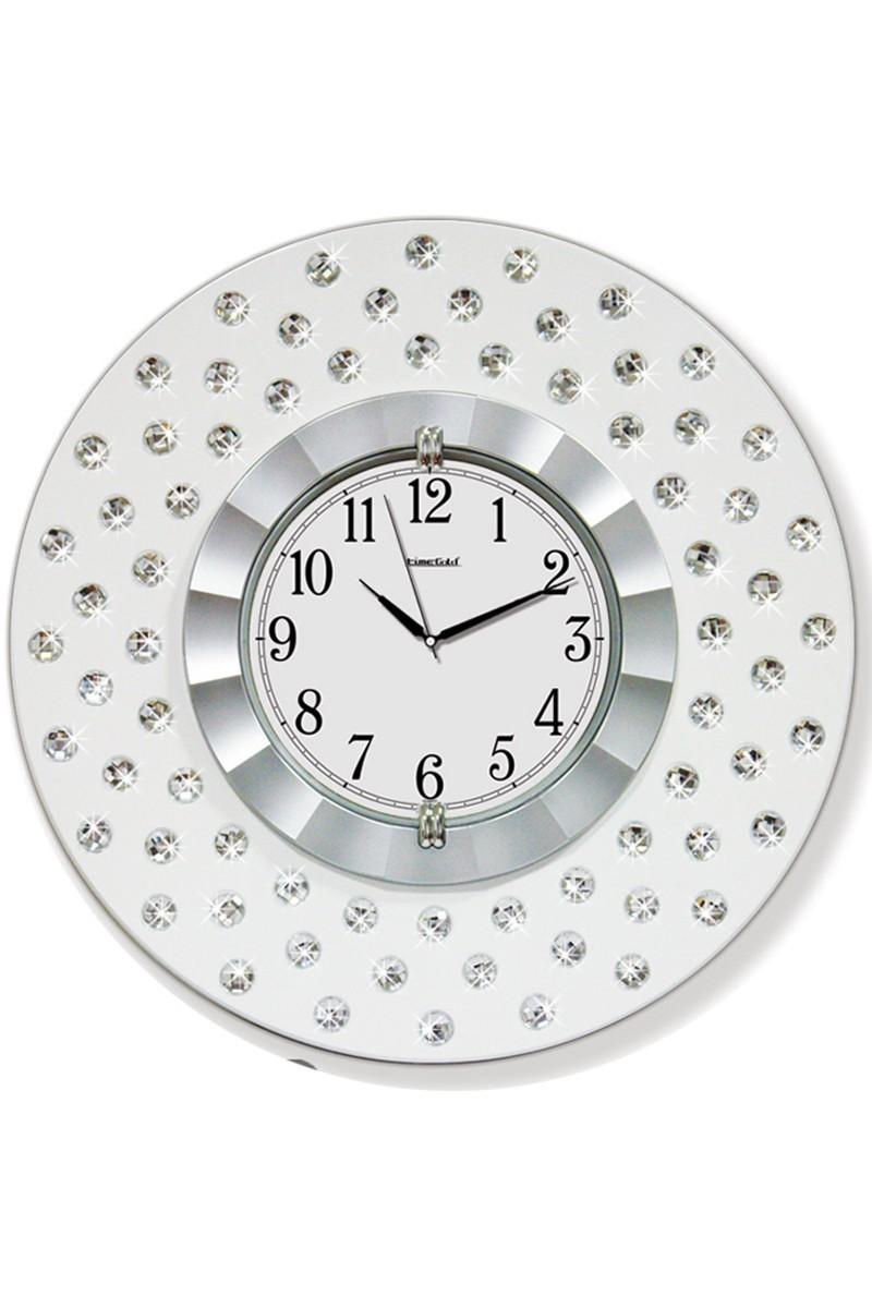 BS Gümüş Rengi BS-TG268-1 Gümüş Renk Dekoratif Taşlı Duvar Saati