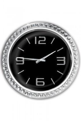 BS Siyah BS-TG266 Yuvarlak Taşlı Duvar Saati