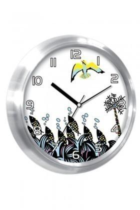 BS Beyaz BS-TG237 Çiçek Desenli Metal Duvar Saati