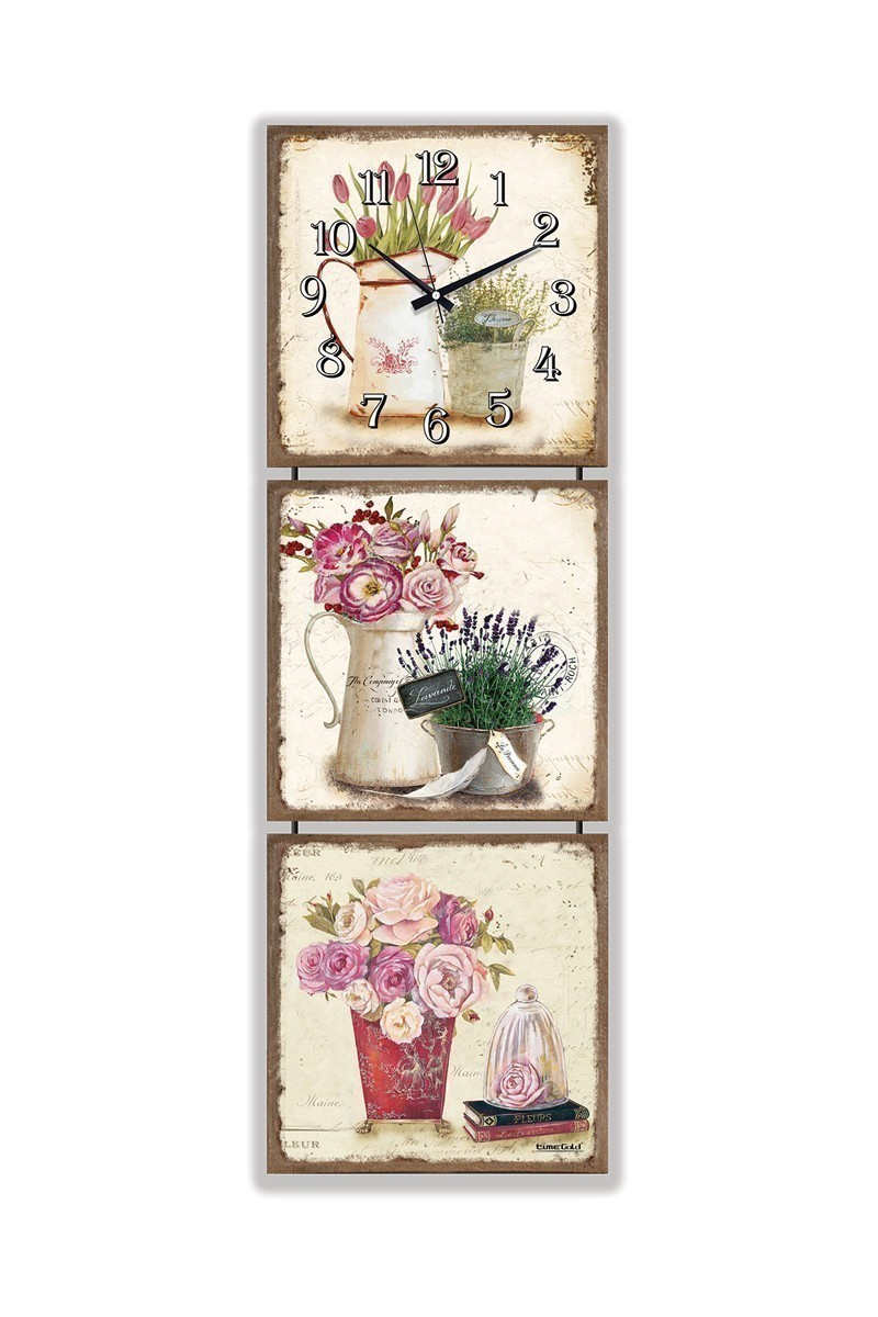 BS Bej BS--TG225-T3 Renkli Çiçek Kanvas Tablo Duvar Saati 3'lü