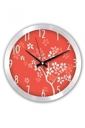 BS Kırmızı BS-TG147S1 Renkli Desenli Metal Duvar Saati
