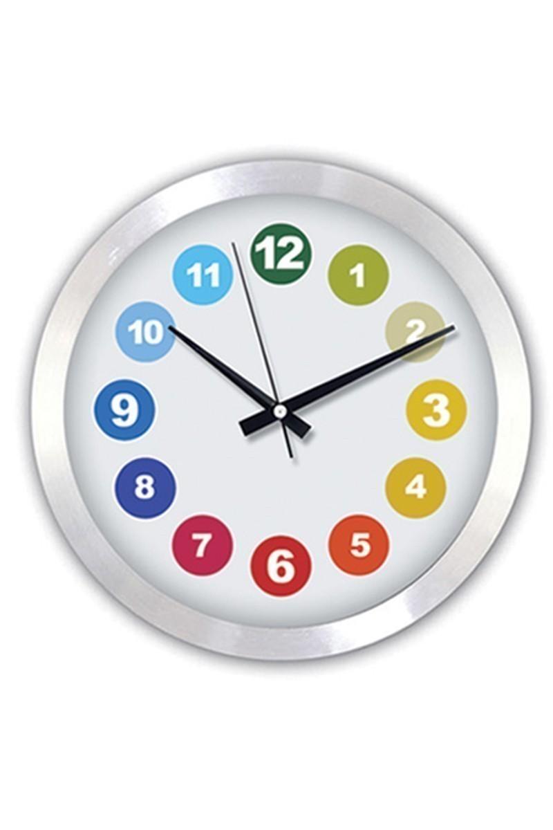 BS Beyaz BS-TG147S3 Renkli Desenli Metal Duvar Saati