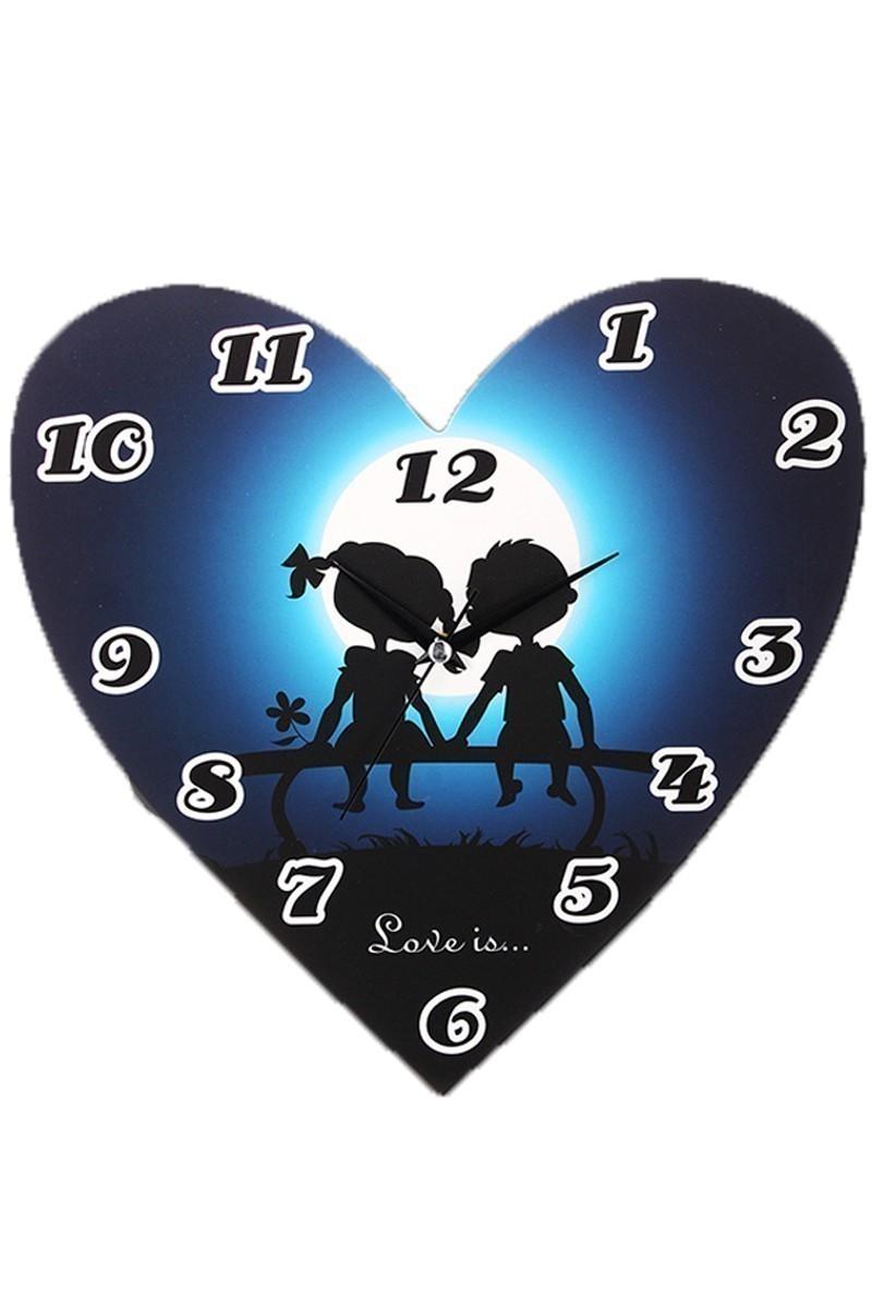 BS Lacivert BS-P-Saat-KalpCocuk Kalp Şeklinde Duvar Saati