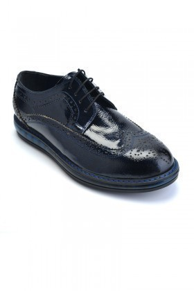 Pandew Lacivert PNDW-8080-DESEN Hakiki Deri Erkek Ayakkabı
